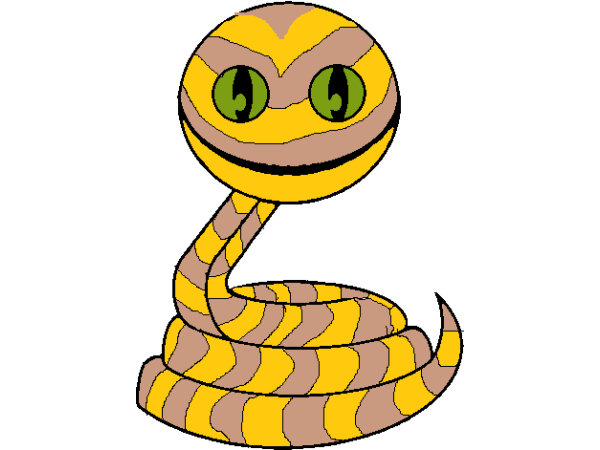 Dessin d'un serpent souriant